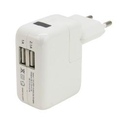 Chargeur 2 X USB sur prise secteur 2A blanc