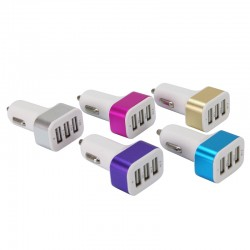 Chargeur allume cigare 3 USB, 1A + 2A + 2,1A