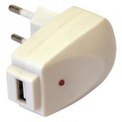 Chargeur USB sur prise secteur 1000mA blanc