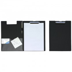 Porte document rigide avec rabat noir avec pince