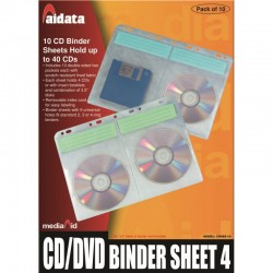 10 Pochettes A4 pour 4 CD/DVD pour classeurs