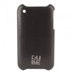 Coque cuir Lezard noir+film pour iPhone 3G 3GS