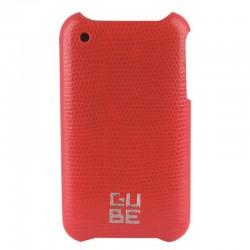 Coque cuir Lezard rouge+film pr iPhone 3G 3GS