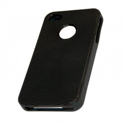 Coque housse silicone rigide noir iPhone 4S