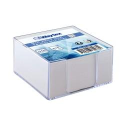Bloc avec papier blanc 90x90x50mm transparent