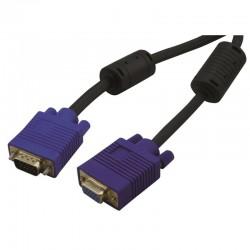 Cable VGA HD15 connecteur or et ferrite 1.80m