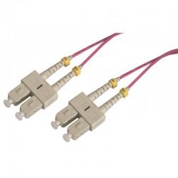 Jarretière optique multimode OM4 50/125 duplex Zipp rose SC/SC 1.00m