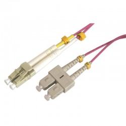 Jarretière optique multimode OM4 50/125 duplex Zipp rose SC/LC 2.00m