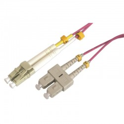 Jarretière optique multimode OM4 50/125 duplex Zipp rose SC/LC 5.00m