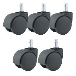 Jeu de 5 roulettes universelles pour fauteuil couleur noir 11/50mm