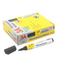 Boîte de 12 - Marqueur permanant pointe ogive 2 mm Noir corps plastique