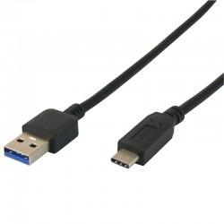 Cordon USB 3.1 type C / USB2.0 A mâle-mâle 1.00m noir pour charge
