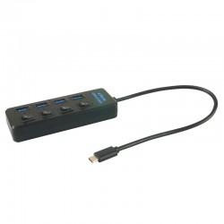 Hub USB 3.1 type C à  4 ports USB 3.0 auto alimenté  avec interupteurs