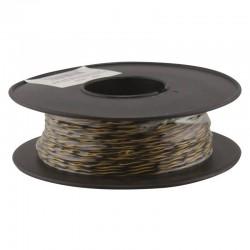 Jarretière téléphonique 2 fils cuivre jaune/noir touret plastique 100m