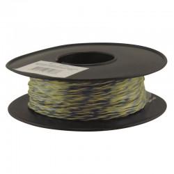 Jarretière téléphonique 2 fils cuivre jaune/bleu touret plastique 100m