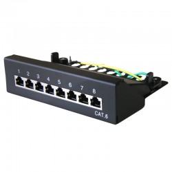 Panneau de brassage noir 8 ports Cat. 6 blindé à poser ou fixer