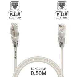 Cable reseau RJ45 Cat6 UTP gris 0.50 m