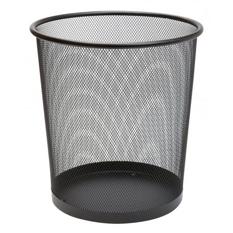 Poubelle, corbeille papier métal ajourée résistante 19 litres noire