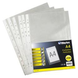 Chemise Pochette perforée A4, transparent grainé, 50 mic sachet de 100