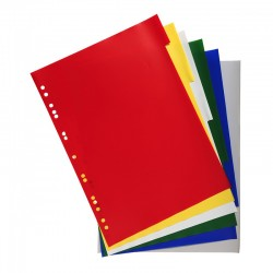 Intercalaires 6 touches couleurs en polypropylène 130 mic