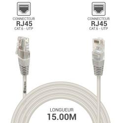 Cable reseau RJ45 Cat6 UTP gris 15.00 m