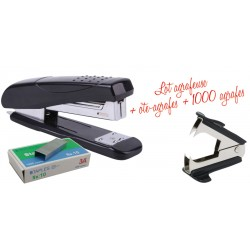 ARRET Agrafeuse de bureau n°10 20 feuilles + 100 Agrafes + Dégrafeur Arrache agrafes