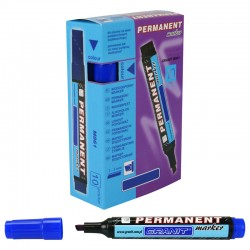Marqueur permanent Bleu pointe Biseautée 5 mm grand modèle BOITE DE 10