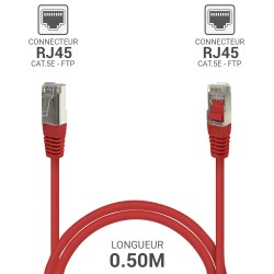 Cable reseau RJ45 blinde ADSL 0.50 m Cat.5e rouge