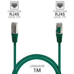 Cable reseau RJ45 blinde ADSL 1.0m Cat.5e vert
