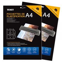 Feuilles de plastification A4 75 microns par face, 150µ total, boîte de 50s