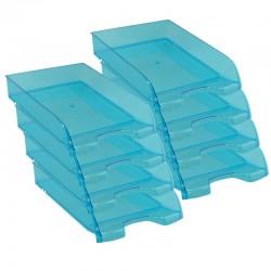 Pack de 8 Corbeilles courrier A4 empilable 345x275x67mm bleue transparent