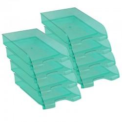 Pack de 8 Corbeilles courrier A4 empilable 345x275x67mm verte transparent