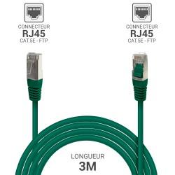 Cable reseau RJ45 blinde ADSL 3.0m Cat.5e vert