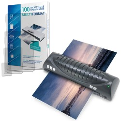 Plastifieuse A4 avec 100 pochettes à plastifier (20xA4-20xA5-20xA6-40xCDV) 150µ
