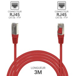 Cable reseau RJ45 blinde ADSL 3.0m Cat.5e rouge