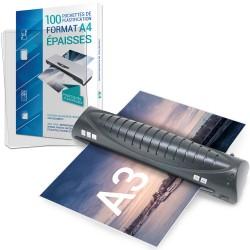 Plastifieuse A3, A4 avec 100 pochettes A4 250 microns TEXET