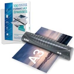 Plastifieuse A3, A4 avec 100 pochettes A3 250 microns Texet