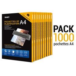 1000 pochettes de plastification A4 150µ (75 microns / face)