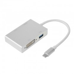 Adaptateur USB 3.1 Type C mâle à HDMI / VGA / DVI / USB 3.0 femelle 0.15m