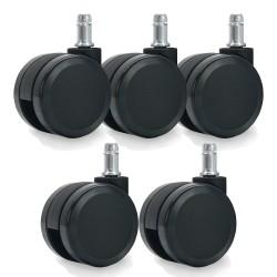 Jeu de 5 roulettes universelles pour fauteuil couleur noir 11/60mm