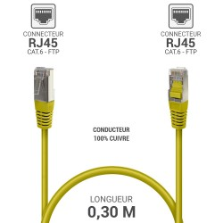 Cable reseau ADSL RJ45 blinde 0.3m Cat.6