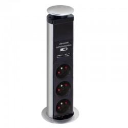 Bloc multiprise escamotable 3 prises éléctrique et 2 USB 2,1A