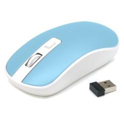 Souris optique sans fil mini dongle USB 1600 DPI max BLEU PASTEL  - Waytex