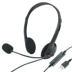 Casque USB multimédia stéréo tour de tête micro sur bras réglage volume Blister