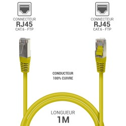 Cable reseau ADSL RJ45 blinde 1.0m Cat.6