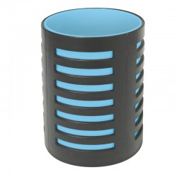 Pot à crayons  105x78mm Noir/bleu turquoize