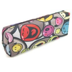 Trousse Fourre-tout 22 x 4 x 8 cm Textile Souple Motifs Smileys