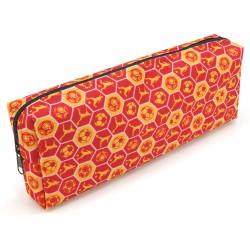 Trousse Fourre-tout 22 x 4 x 8 cm Textile Souple Motifs Foot Rouge et Jaune