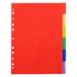 Intercalaires 6 touches couleurs vives en polypropylène 130 mic