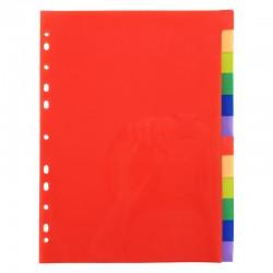 Intercalaires 12 touches couleurs vives en polypropylène 130 mic